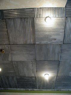 Corragated metal ceiling