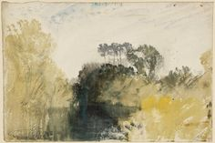 Joseph Mallord William Turner, 'A River or Pool with Wooded Banks and Distant Buildings' (J. Turner: Sketchbooks, Drawings and Watercolours) Watercolor On Wood, Watercolor Sketchbook, Art Sketchbook, Joseph Mallord William Turner, Landscape Drawings, Landscape Art, Turner Painting, Painting & Drawing, Turner Watercolors