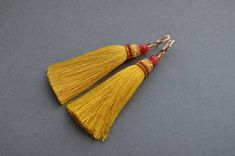 Yellow tassels earrings Gold Tassel earrings Dangle earrings