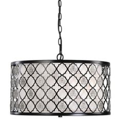 Uttermost Filigree 3-Light Drum Pendant Lamp in Black with Off-White Shade - BedBathandBeyond.com