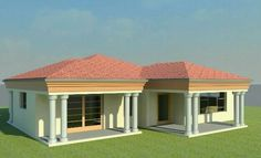 Second Flat Roof House Designs, Modern Bungalow House Design, House Roof Design, Facade House, Round House Plans, Tuscan House Plans, Free House Plans, Family House Plans, Two Bedroom House Design