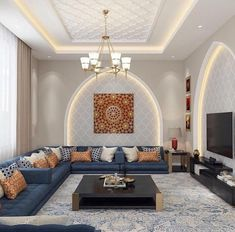 Definitive Proof That Gray Living Rooms Make a Striking Statement – Home Design Ceiling Design Living Room, Home Room Design, Home Design Decor, Home Interior Design, Living Room Designs, Home Ceiling, Living Room Decor, Decor Room, Moroccan Home Decor