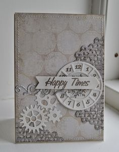 card MFT clock - Timeless stamp set MFT time pieces MFT die-namics Time Pieces die set - Picturing the World: Kort  Happy times #clock Gitte blomsterbox