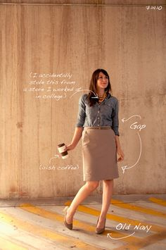 chambray with khaki pencil skirt Cute Work Outfits, Pretty Outfits, Pretty Clothes, Work Clothes, Khaki Skirt, Work Looks, Skirts With Pockets, Colourful Outfits, Work Casual