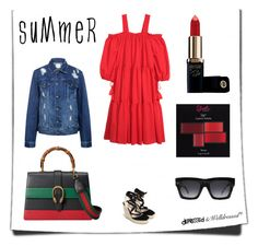 """LADY IN RED"" by beingsilly ❤ liked on Polyvore featuring H&M, Zara, CÉLINE, Gucci, Edit, L'Oréal Paris and Silvana"