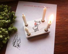 Kleiner Adventskranz als witzige Weihnachtsdeko oder zum Verschenken / funny christmas wreath, moose made by Kreativköpfchen via DaWanda.com