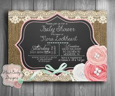 Chalkboard Shabby Chic Rustic Burlap Lace Baby Shower Invitation PRINTABLE! Matching inserts, Thank You, and Favor tags!