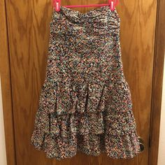 Floral Express Dress Cute, strapless express dress. It is navy, with multi colored flowers. Size Medium. Good condition! Express Dresses Strapless