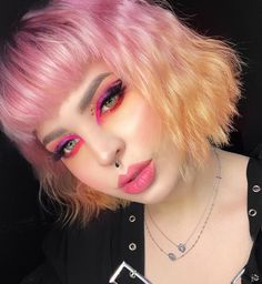 Majorly cute pastel pink + orange ombre on the stunning @tavujesus #lunartides #pinkhair #pastelhair