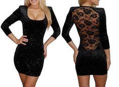black see through back dress