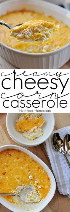 Creamy Cheesy Corn Casserole ~ decadent with cream cheese and cheddar, this corn is perfect as a holiday side dish and can even be made in the crock p Corn Recipes, Side Dish Recipes, Crockpot Recipes, Dinner Recipes, Cooking Recipes, Easter Recipes, Dinner Ideas, Vegetarian Recipes, Chicken Recipes