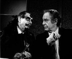 Sir Graves Ghastly and Bill Kennedy, two Detroit Movie Host Legends. Sir Graves' folded forefinger was painted with eyes & the thumb was a moving mouth. I don't know how they super-imposed that talking tongue.  His voice was one that sounded like Dracula's & he wasn't bad either!