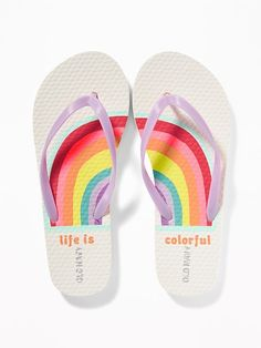 Old Navy Girls' Printed Flip-Flopss Life Is Colorful Rainbow Size Cute Flip Flops, Girls Flip Flops, Beach Flip Flops, Flip Flop Shoes, Womens Flip Flops, Dresses Kids Girl, Girl Outfits, Tea Sets For Sale, Cute Slippers
