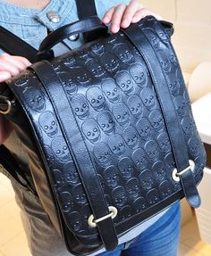 Black Skull Print PU Backpack with Oversized Front