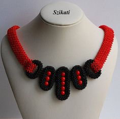 Red/Black Beaded Necklace Statement Necklace Art by Szikati