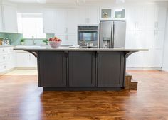 Secret Cabinet Storage under island for extra kitchen items you don't use daily!