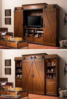 Fall is all about the industrial, rustic look this year. This entertainment center is a bit of both and perfect for the season! Fall is all about the industrial, rustic look this year. This entertainment center is a bit of both and perfect for the season! Living Room Entertainment Center, Woodworking For Kids, Woodworking Plans, Woodworking Skills, Woodworking Projects, Woodworking Shop, Tv Cabinets, White Cabinets, Interior Barn Doors