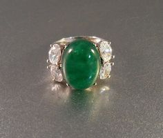 Sterling Chrysoprase Ring Cubic Zirconia by LynnHislopJewels