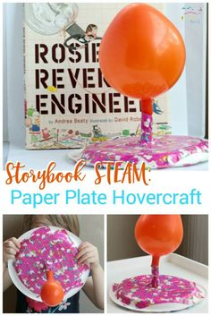 Your kids can become engineers like Rosie Revere with this paper plate hovercraft project inspired by the book Rosie Revere Engineer! via @lifeovercs