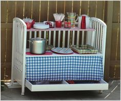 Amazing vintage table. -28 Inspirational Ways How to Repurpose Old Baby's Cribs