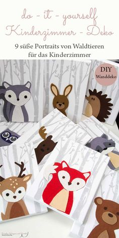 DIY – Kinderzimmer Wanddeko: so kannst auch du neun süße Portraits von Waldtie… DIY – Nursery wall decoration: so you can do nine cute portraits of forest animals for the nursery itself