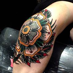 Knee Tattoo by Luke Jinks. #inked #inkedmag #tattoo #ink #knee #floral #flower…
