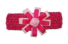 Baby Headbands New Girls 2 Tone GrosGrain Rosette Flower Hair Bow Stretch Crochet Headband USA #WebbDirect2u #HairBows