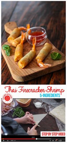 5-ingredient, make-ahead appetizer - pad thai sauce, fresh basil, chopped peanuts and shrimp rolled in spring roll wrappers. Step by step video. ~ http://steamykitchen.com