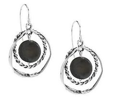 Or Paz Sterling Cultured Pearl Coin Circle Dangle Earrings