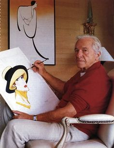 René Gruau in 1986. Gruau (1909 - 2004) was a renowned fashion illustrator whose exaggerated portrayal of fashion design through painting has had a lasting effect on the fashion industry. Wiki