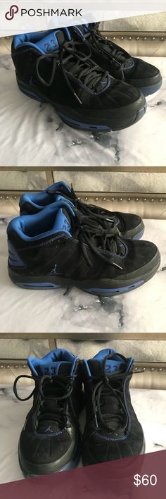 Jordan Pure Pressure Pre-Owned Black & Blue Jordan Shoes 👟 minor scuffs here and there but other then interior in very good condition just sat in my sons closet. Air Jordan Shoes Athletic Shoes