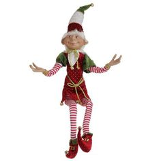 """RAZ Elf Christmas Decoration  Red and Green Made of Polyester Measures 29"""" For Decorative Use Only Not a Toy Additional photos for decorating ideas, other items not included.  Whimsical"""