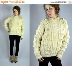 30% OFF SALE Vintage Chunky Cable Hand Knitted Wool Sweater
