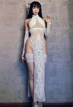 Lingerie Outfits, Lingerie Dress, Sexy Outfits, Fashion Outfits, Dresses For Sale, Dresses Online, Dress With Stockings, Modelos Fashion, Cheongsam Dress