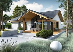 Projekt domu Mini 4 w. Modern Bungalow Exterior, Modern Bungalow House, Bungalow House Plans, Village House Design, Village Houses, Simple House Plans, New House Plans, Home Building Design, Building A House