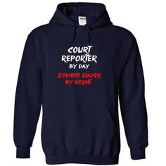 COURT REPORTER By Day Zombie Slayer By Night - #gift for dad #student gift. CHECKOUT => https://www.sunfrog.com/Zombies/COURT-REPORTER-By-Day-Zombie-Slayer-By-Night-9202-NavyBlue-18250126-Hoodie.html?68278