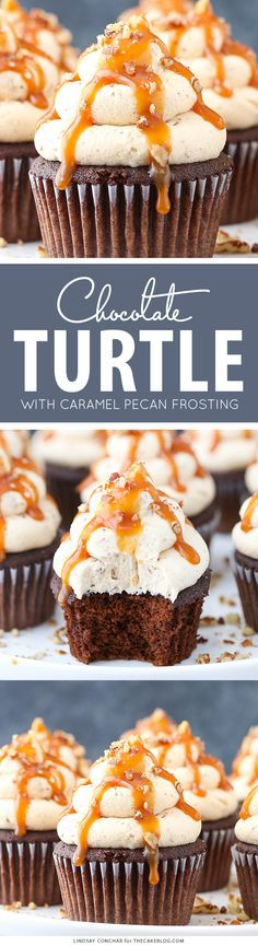 Chocolate Turtle Cupcakes - from scratch recipe for rich chocolate cupcakes with caramel pecan frosting, caramel drizzle and chopped pecans | by Lindsay Conchar for http://TheCakeBlog.com