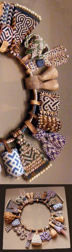 ❤️❤️❤️❤️❤️❤️Africa | Details from a belt from the Kuba people of DR Congo | Glass beads, shells, leather, natural fiber