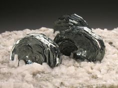 Lustrous rosettes of Hematite grow from a sea of sparkling Feldspar crystals on a Gneiss matrix