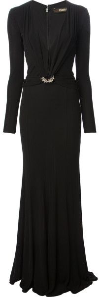 Roberto Cavalli Draped Gown in Black | Lyst
