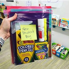 "💡Teacher Tip💡Make a ""new student bag"" at the beginning of the year in case you have a new student start in the middle of the school year!… Classroom 💡Teacher Tip💡Make a ""new student bag"" at the beginning of the year in case you have a Teacher Hacks, Teacher Organization, Teacher Stuff, Organised Teacher, Board Game Organization, Teacher Planner, Teacher Binder, Organizing, 3rd Grade Classroom"