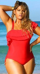 """España"" Ruffle Plus Size Swimsuit w/Detachable Strap- Red"