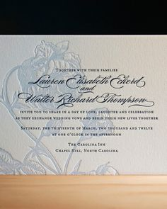 Letterpress Invitation  Photo: Courtesy of Parklife Press  Beautiful calligraphy and pressed image.
