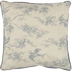 """Bring a touch of charm to your sofa or favorite reading nook with this lovely linen and cotton pillow, featuring a bird and branch motif in blue.     Product: Set of 2 pillowsConstruction Material: Linen and cotton blend cover and polyester fillColor: Blue and ivoryFeatures: Inserts includedDimensions: 18"""" x 18""""Cleaning and Care: Dry cleaning recommended"""