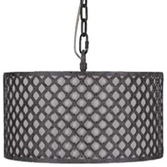 The Venice Pendant light features detailed metal latticework surrounding a neutral linen shade. The realistic chipped rusty black finish brings an old world feel to a modern form. • Materials: Metal/Linen • Finish: Rusty Black & Neutral Linen
