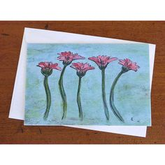 Pink Gerbera Note Card, blank greeting card, Small Floral Art Print... (€3,55) ❤ liked on Polyvore featuring home, home decor, floral home decor and pink home decor
