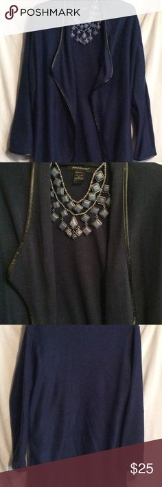 09bebe0c22f ASHLEY STEWART CARDIGAN SIZE 18 20 Ashley Stewart blue cardigan trimmed  with faux leather size