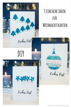 A personal greeting for Christmas is fast and easy homemade - 3 ideas for homemade Christmas cards # Homemade Christmas Cards, Christmas Cards To Make, Xmas Cards, Christmas Greetings, Christmas Crafts, Christmas Decorations, Cards Diy, How To Make Homemade, Holiday Activities