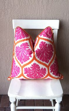 Pink and Orange Decorative Pillow Cover.Accent Pillow.Throw Pillow.Home Decor.Handmade Pillow on Etsy, $48.00