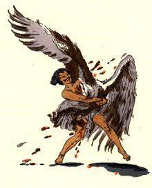 """Salammbô de Gustave Flaubert (1862), chapitre 7 - """" L'autre lune, croirais-tu, il a surpris un aigle ; il le traînait, et le sang de l'oiseau et le sang de l'enfant s'éparpillaient dans l'air en larges gouttes, telles que des roses emportées. La bête, furieuse, l'enveloppait du battement de ses ailes ; il l'étreignait contre sa poitrine,..."""""""